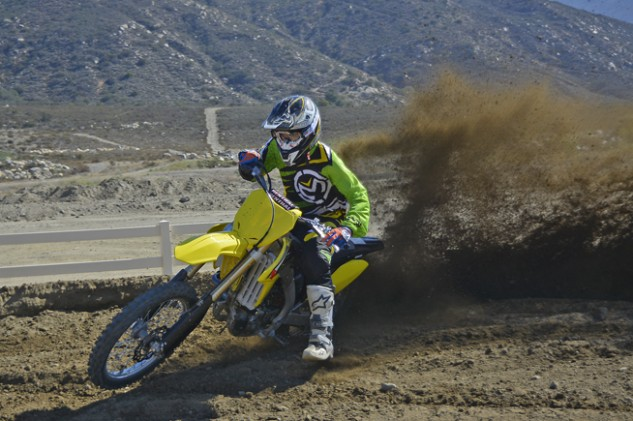The RM-Z doesn't bowl you over with explosive power. Its power persona is more smooth and linear. There's still plenty of low-end and mid-range power to shred berms with, but the Suzuki prefers to be revved hard.