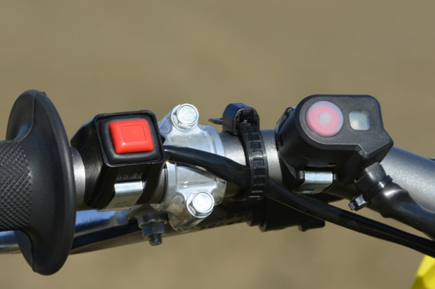 That extra button to the right of the kill switch manages Suzuki's sophisticated S-HAC launch control, which gives the rider a choice of two different intervention modes to aid in getting the holeshot.