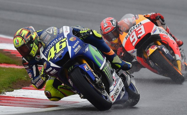 Rossi Leads Marquez at Silverstone