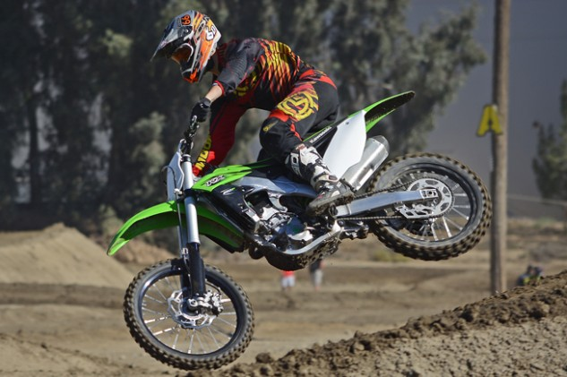 Throttle response through the KX's dual-injector Keihin Digital Fuel Injection system is excellent, which makes it easy to seat-bounce and pop over a jump that may be located right out of a corner.