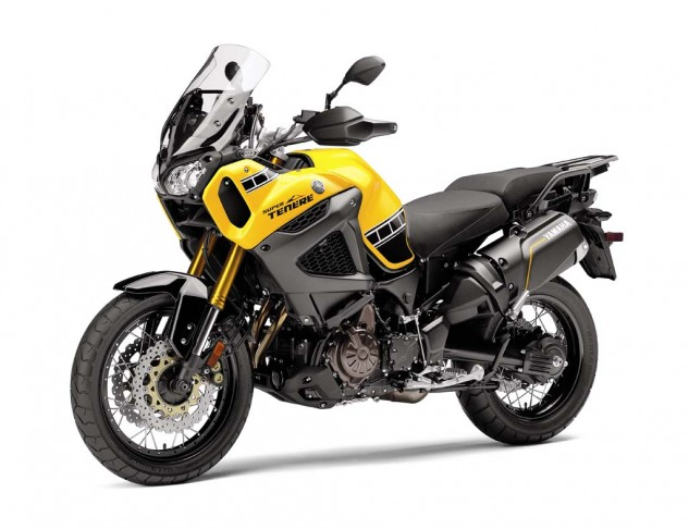 The Super Tenere is back, available also as a non-ES in bumblebee paint for $15,590. The Super Tenere ES in Raven will set you back $16,190.