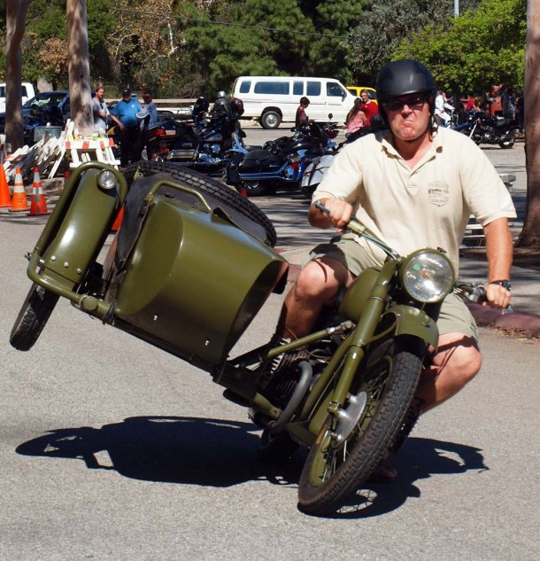 Every sidecar rally needs at least one flying chair!