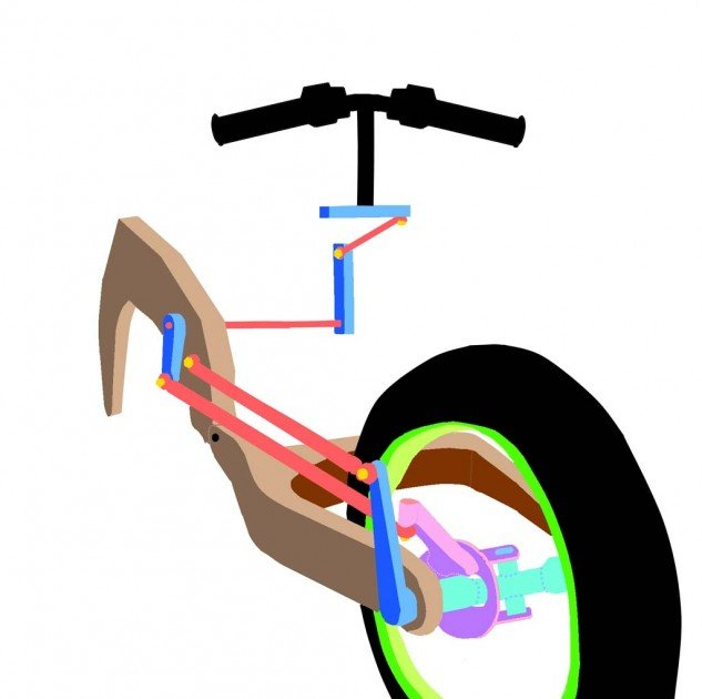 It's really just a conventional swingarm up front, but with the sides bowed out a bit to allow the tire to move through about a 30-degree arc. The tricky part is the four spherical joints and six bearings that make it all work.