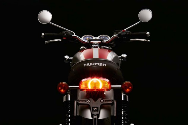 The LED brake light is one of Triumph's new signature pieces. The tank paint is dead sexy on close inspection.
