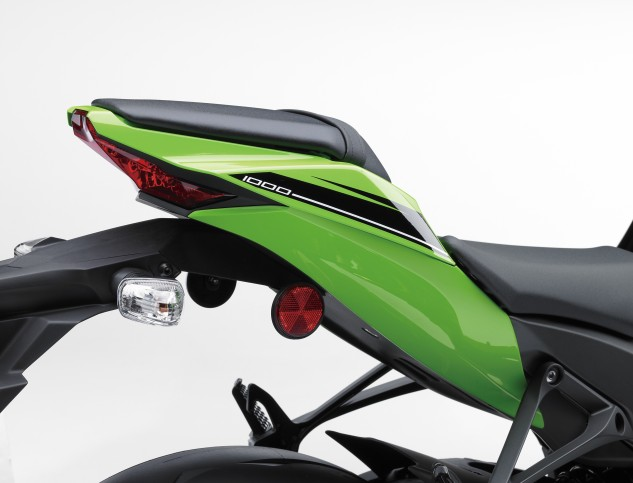 """Kawasaki says it widened the rear cowl """"to create a visual balance with the front styling."""" It still looks rather slim, at least from this angle."""