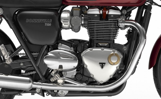 "The new Bonneville 1200 ""high torque"" engine looks modern and classic simultaneously."