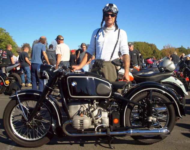 Best Big Tank Beemeristi in Goggles: Mike Lohrman, a veteran Cannonball rally participant, sailed in on his Hoske-tanked 1951 BMW R67.