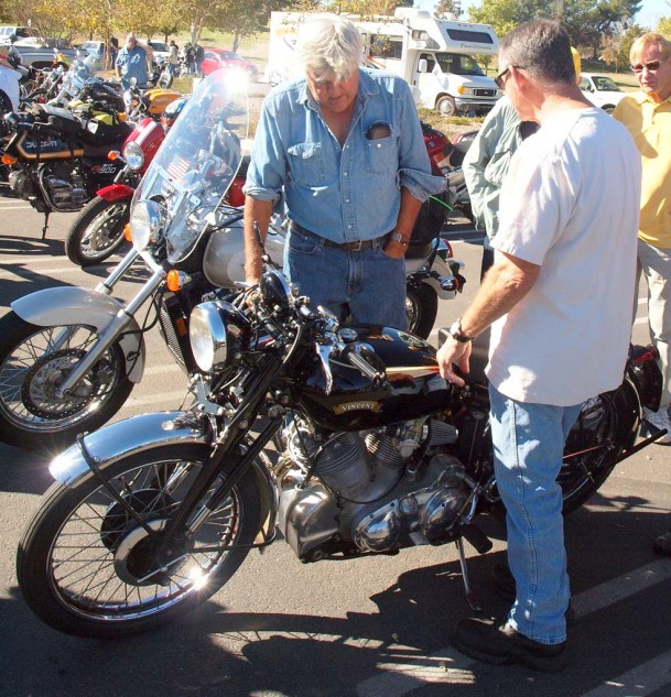 Best Late Nite Show Host Who Digs Vincents: Jay Leno discusses the merits of a Vincent Rapide with owner Bill Melvin.
