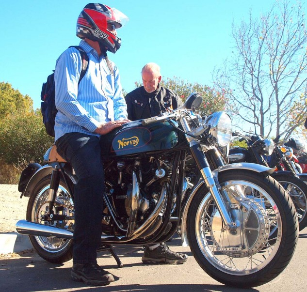 Best Green with Envy Norvin: Larry Horn of Huntington Beach rode in on one of his two Norvins, in this case a 1948 B Series HRD, a three-year ongoing project. Larry's bike took Best British Other in the bike show category.