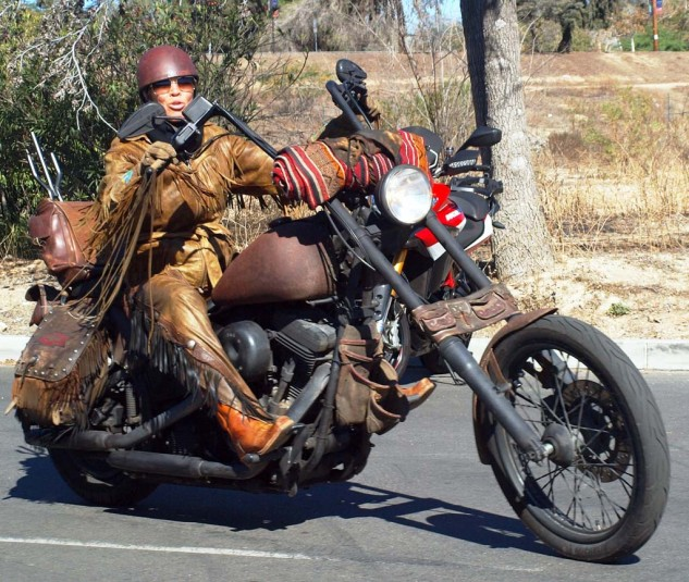 """Best Fringed Flyer: Making a show-stopping entrance, this leather-clad '91 Softail Harley was ridden by Betsy Huelskamp who added the patina """"in rust we lust"""" look herself."""