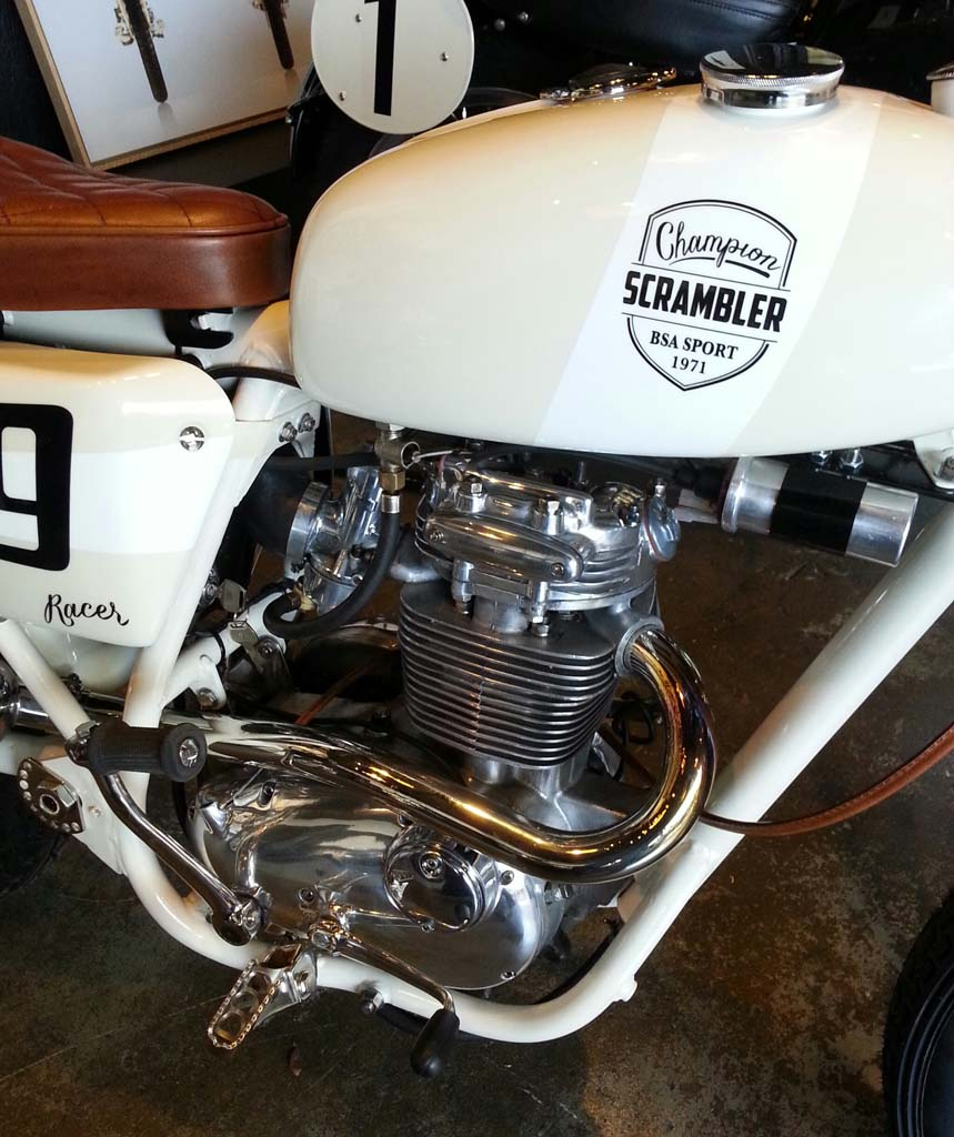 Serge gave the 1971 250cc BSA Single his custom treatment, everything of his own design.