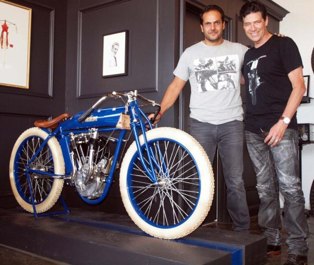 In 2007, when the French motorcycle museum closed its doors, Serge took home three bikes, one being this very rare 1914  Hendee-Indian. He's seen here with the bike's new owner, Bobby Haas from Dallas, who had just ridden to the shop on a Harley sidecar rig.