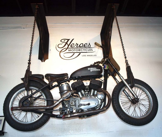 Hanging art in the form of an original Harley KR racer. Rather than restore the rare, early example, Serge chose to retain its original patina.
