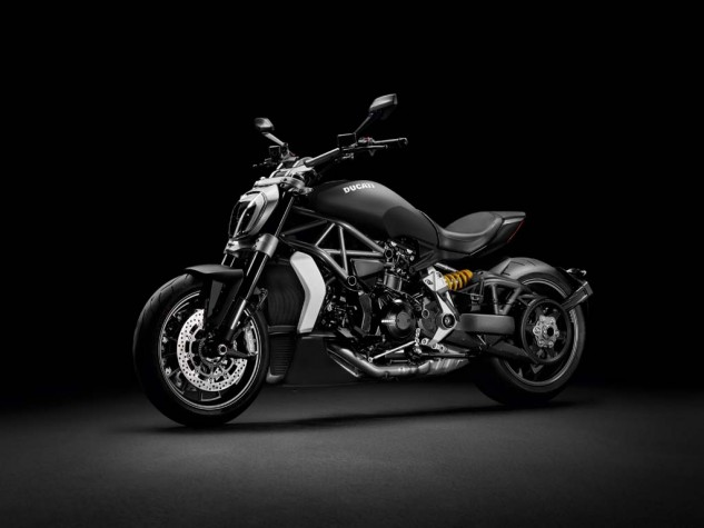 """The """"S"""" version of the new XDiavel in these pics gets special wheels and various billet pieces. All the XDiavels are completely new from engine to single-sided swingarm."""