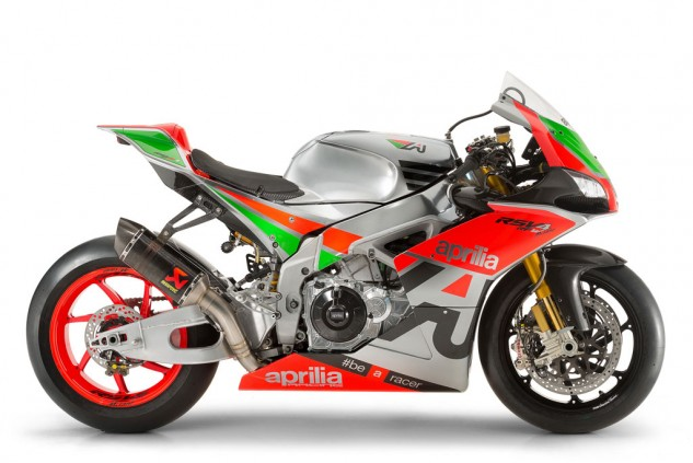 The color scheme is a celebration of Aprilia's first victory in roadracing competition.