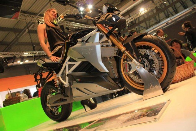 We were happy to see Energica back at EICMA, the Italian electric-bike manufacturer returning with its Ego superbike we've reviewed and the Eva roadster that it revealed last year, seen here in its latest form.