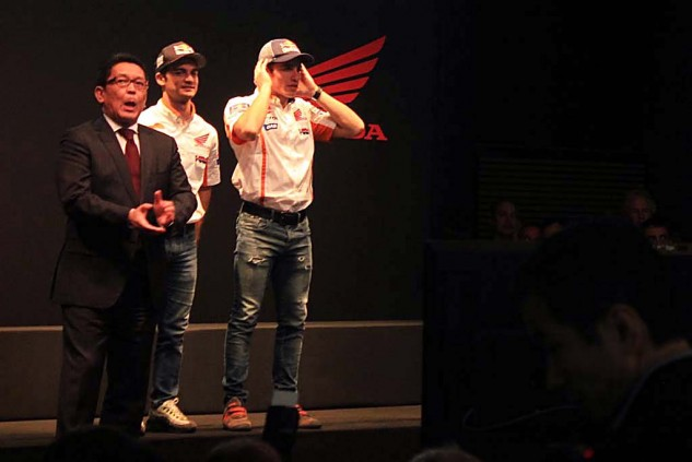 MotoGP racers Dani Pedrosa and Marc Marquez took to Honda's stage to add some glitz among a fairly glitzless presentation. Oh, Honda supposedly retained its number-one market share in 2015, at 16.5%.