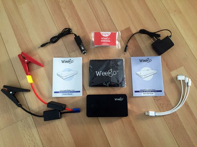 All Weego lithium jump starters come with: Pre-charged battery pack, jumper cables (with built-in circuitry protections), wall and car chargers, 3-in-1 USB charging cord, battery terminal cleaner, carrying case, instruction manual, quick start guide.