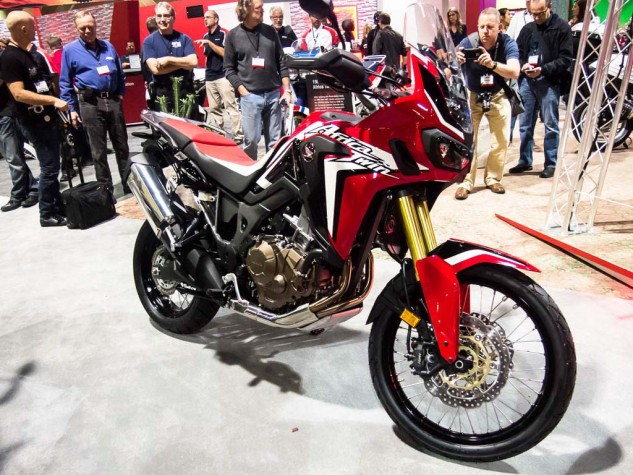 In Hondaville, the big news is the Africa Twin, sighted here for the first time in the wild. She starts at a very reasonable by current standards $12,999, and $13,699 for the DCT version; both come with ABS and HSTC (traction control).