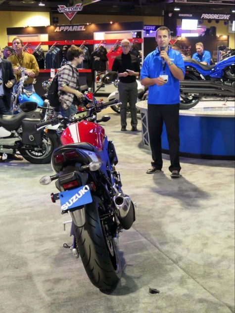 For now, everybody seems content with the reborn SV650, back out of the Gladius closet and taking styling cues from vintage Ducatis. A rare sighting of the infamous Jeff Karr at left...