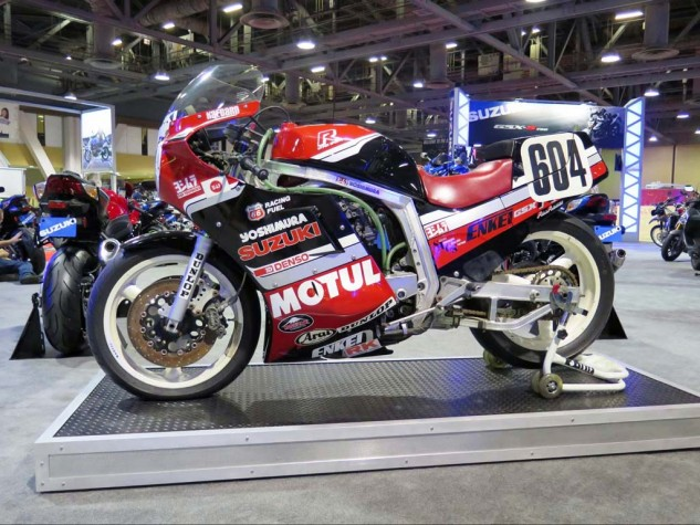 """Satoshi """"Kamikaze Boy"""" Tsujimoto raced this one in 1986 with teammate Kevin Schwantz. Suzuki's new GSX-R1000 will be here for 2017. Could be good."""