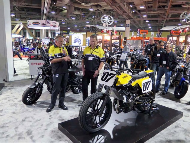 Meanwhile in the Yamaha Deparment, Race Director Keith McCarty, custom builder Jeff Palhegyi and the FZ-07-based flat tracker prototype.