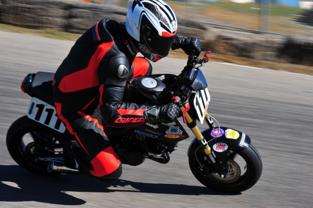It's no fun showing a picture of a motorcycle with a busted wheel sitting in the back of a truck, so here's another action shot of our Grom.