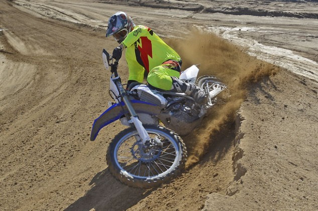 Despite its engine and transmission changes, we were impressed with just how competent the FX was on the motocross track portions of our Cahuilla Creek test loop, especially after we reprogrammed the ECU. The FX can shred berms with the best 450cc motocrossers in the class.