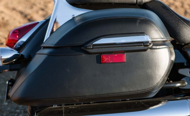 The V Star's bags are larger, prettier, and lockable. Neither bikes' bags are waterproof, though.
