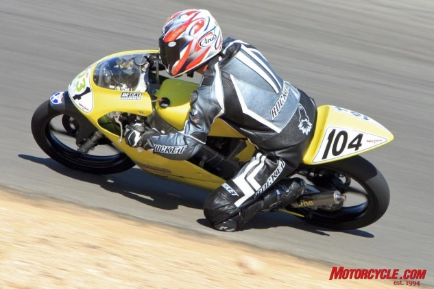 The ultra-peaky powerband of Anderson's Honda RS125 racebike proved tricky to master.