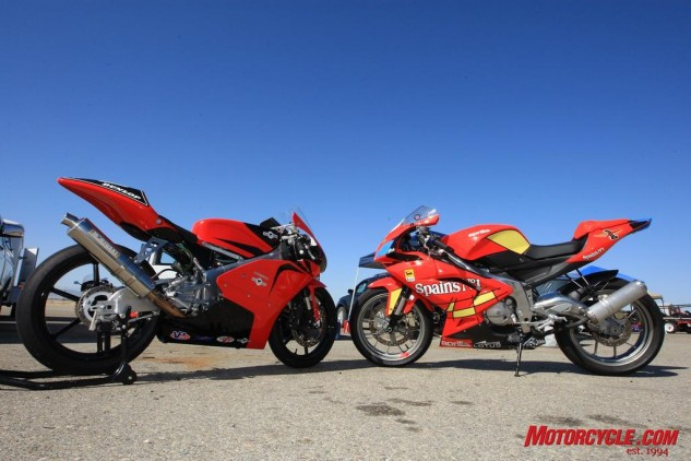 On the left is the Moriwaki MD250H powered by a four-stroke Honda motor. On the right is the Aprilia RS125, one of the last sport motorcycles available with a two-stroke engine.