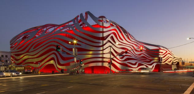The new Petersen museum is nothing if not eye-catching, making it nearly impossible to miss, even among the scores of buildings surrounding its West Los Angeles location. Photo by David Zaitz.