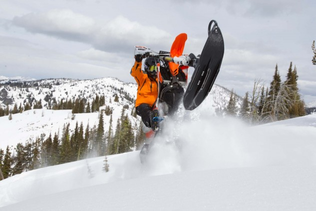 Dashing through the snow, MO-style! We bet you've never ridden a wheelie through snow this deep on your standard two-wheeler. It's no problem on a snowbike.