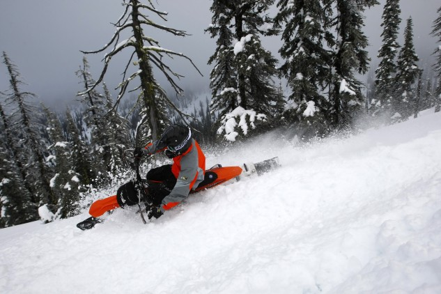 A snowbike can turn any mountain into a motocross track. Carving turns is a blast, but it does take some practice to get a proper feel for the cornering dynamics of the tracked vehicle.