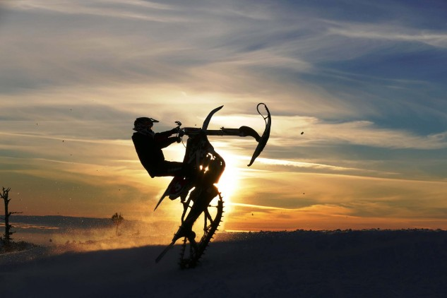 Snowbiking can be a lot fun and presents a beauty all its own.