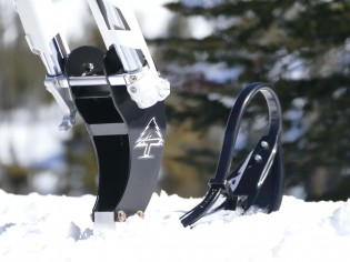 The front of a snowbike is held up by a single ski that attaches to the fork. The beauty of a snowbike is that it can be converted back to a dirtbike in just a few hours.
