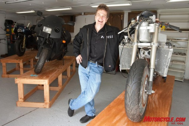 Erik Buell inside the shop where he built his first motorcycles.