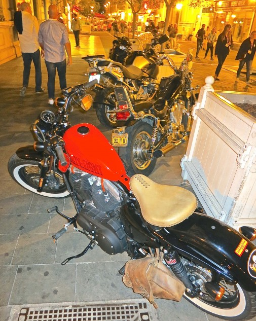 A new Harley Forty Eight, parked within the owner's sight at a sidewalk cafe.