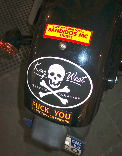 The Harley's rear fender, with a few Yankee-style bad boy sentiments.