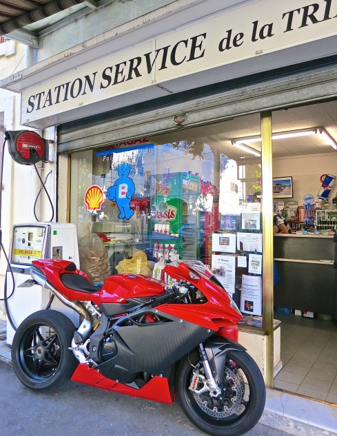 One must surely put in some long hours at the gas station to afford an MV Agusta. It does dress the place up nicely.