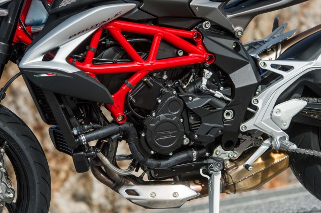 MV says there's 25% more maximum torque than the '15 model, and the same 61.2 lb-ft as the Turismo Veloce, but 400 rpm lower; 90% of max torque is happening at only 3800 rpm. Max output is a claimed 116 hp at 11,500 rpm.