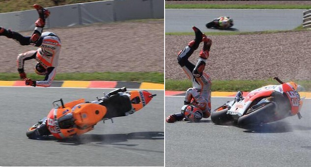 Crashing is probably the most important helmet input a racer can provide, and we're happy to let Marquez perform the crash testing for us. This crash took place while Marquez was wearing an X-Twelve model. That the man has survived a few impacts such as this one wearing the old helmet and continues racing sans brain damage (far as we know), we'll give the new X-Fourteen a perfect 10 in the Safety category of the ScoreCard.