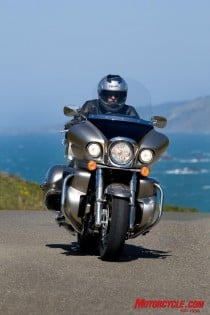 The Voyager ensconces its rider in wind-deflected comfort.