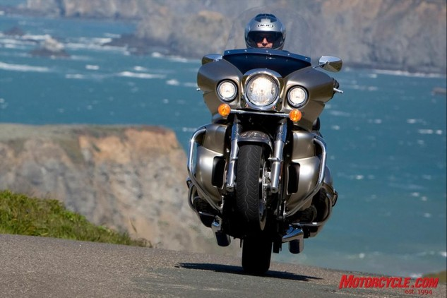 With more than 100 ft-lbs of torque in the 2000-rpm range, the Voyager's 1700cc V-Twin offers enough grunt to hoist the front tire.