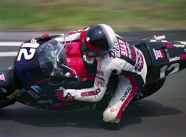 Doug Polen and Kev Schwantz qualified 3rd for the 1990 Suzuka 8-Hour on their Yosh Sietto RR, and finished 8th. In World Superbike, Polen won Race 1 at Sugo in '89 and set pole, but finished 21st for the season with just 33 points. Fred Merkel won his second WSB championship on his RC30 Honda that year. Polen regrouped and won the '91 and '92 titles – on a Ducati. Photo by Rikkita.