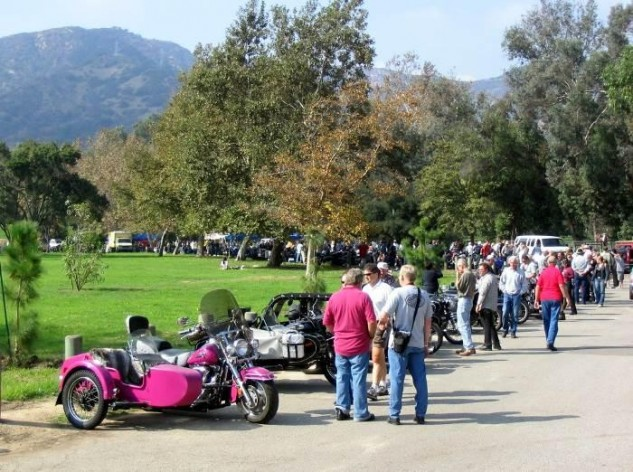 Every year, thanks to Doug, L.A.'s Griffith Park was a magnet for sidecar fans, some traveling from Europe and Australia to attend. One year's 3-wheeled party attracted some 12,000 fans and spectators who enjoyed the unique bike/sidecar combinations and their equally colorful riders.