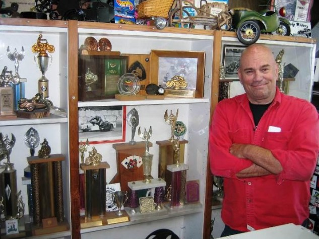 A few of Doug's awards joined by his vintage motorcycle toy collection, 600 of which he donated to the AMA Motorcycle Hall of Fame Museum in 2014.