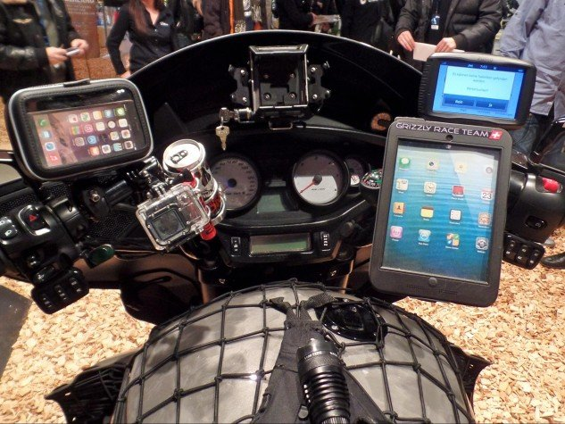 Grizzly's dash area is loaded with electronics.