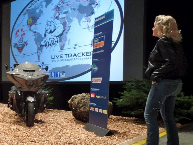 Even Zoe Scarlett was eager to see Grizzly's Daytona1 bike revealed.