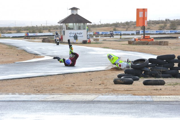 The tricky conditions during the latter stages of the race unfortunately bit some competitors.